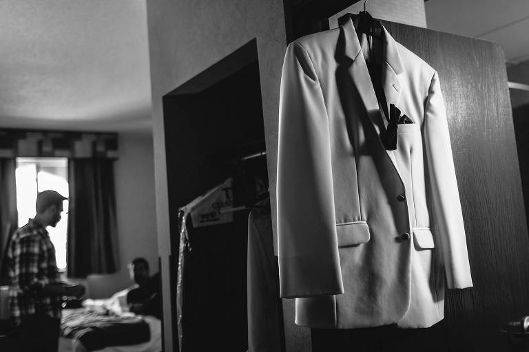 New England Wedding, Coastal Wedding Photography, Getting Ready, Groom Prep, Black and White, Tuxedo, B&W
