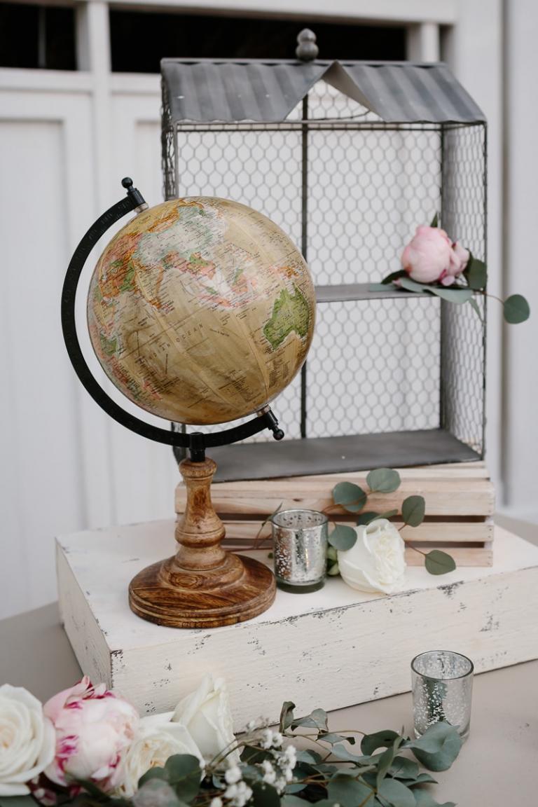 Peony and Globe Wedding Decor