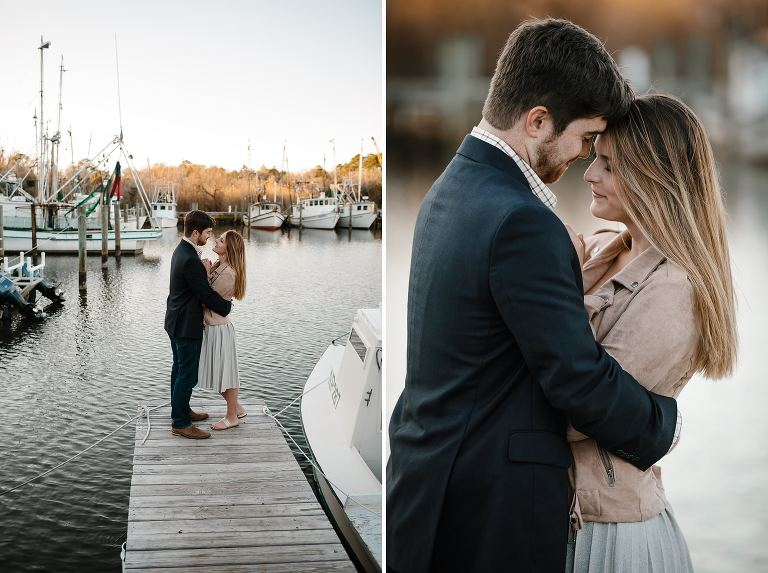 Megan and Turner embracing on a dock slip in the marina at the end of Market St Apalachicola