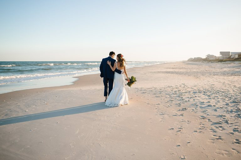 Bride And Groom Portraits On St George Island Beach After Ceremony