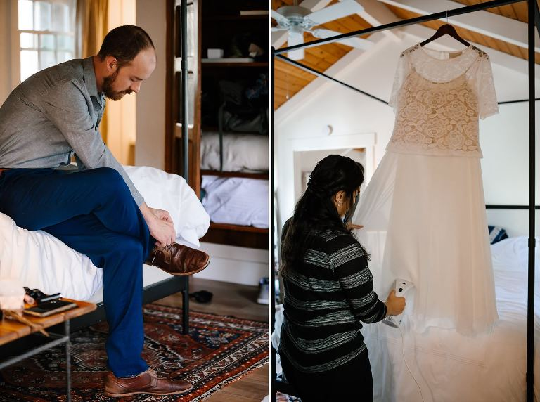 Side by sides of groom putting on brown leather shoes while bride steams white wedding dress