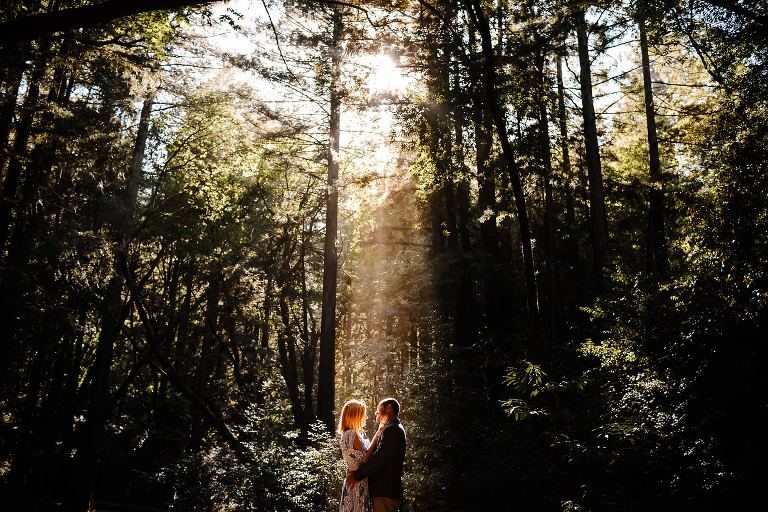 Engaged couple embracing closely on a trail in a beam of sunlight shining through the redwoods in Larkspur
